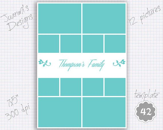 Photo collage template 42 7x5 inches (12 pictures) | Pinterest ...
