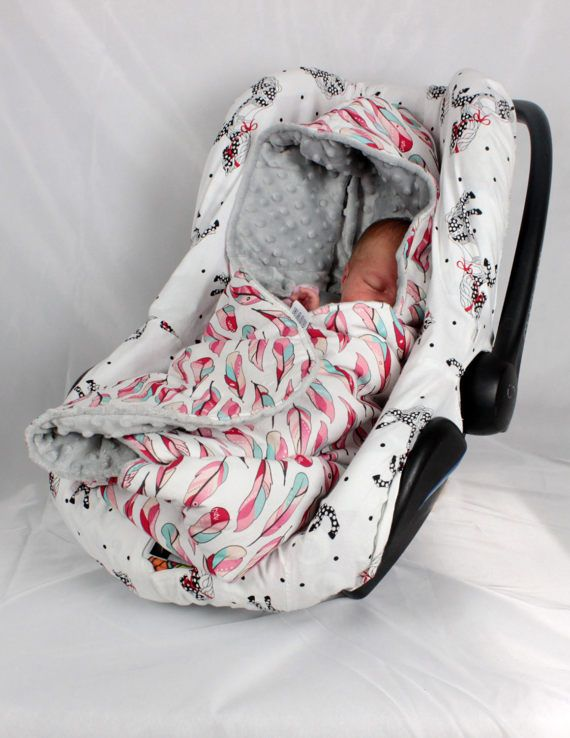 Car Seat Blanket Infant Handmade Carseat Swaddle Travel Wrap Hooded