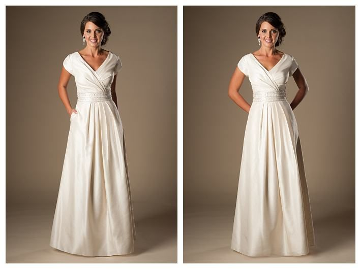 Modest, cheap wedding dress with pockets, the Coretta | budget ...