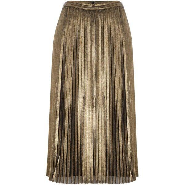 718da4d96d tfnc Pleated Metallic Midi Skirt ($64) ❤ liked on Polyvore featuring skirts,  black gold, women, midi skirt, tfnc, mid calf skirts, pleated skirt and  knee ...
