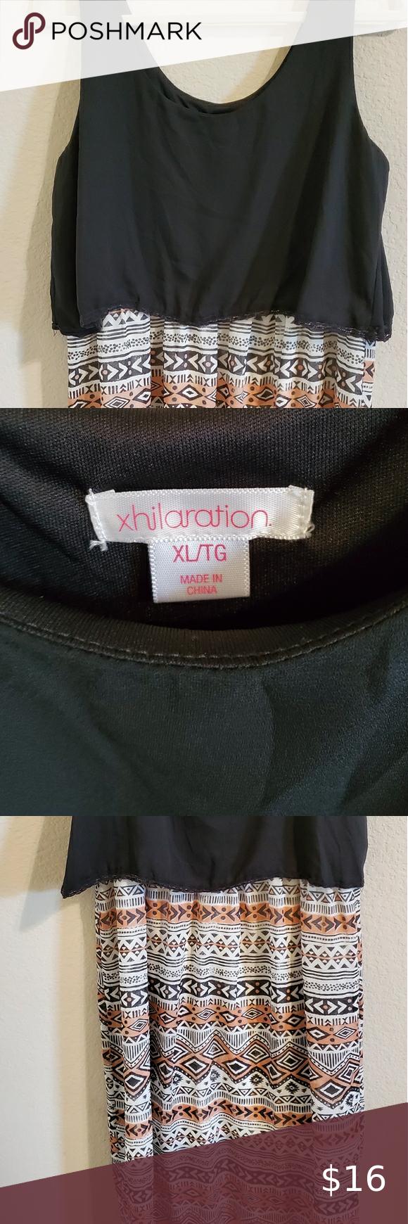 Xhilaration Maxi Tank Dress Blk Top Print Lower Xl Maxi Tank Dress Tank Dress Xhilaration [ 1740 x 580 Pixel ]