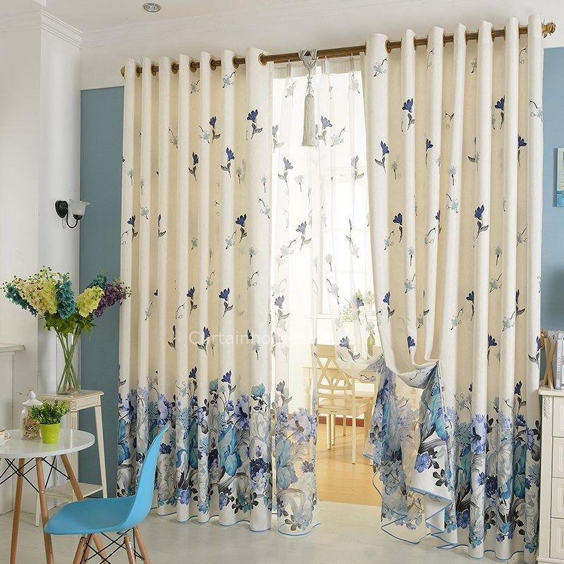 High Quality Poly/Cotton Blue Floral Curtains Bedroom Curtains