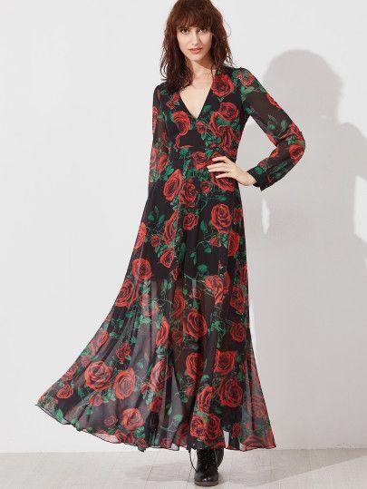 Vestido maxi escote V con estampado de rosa - negro