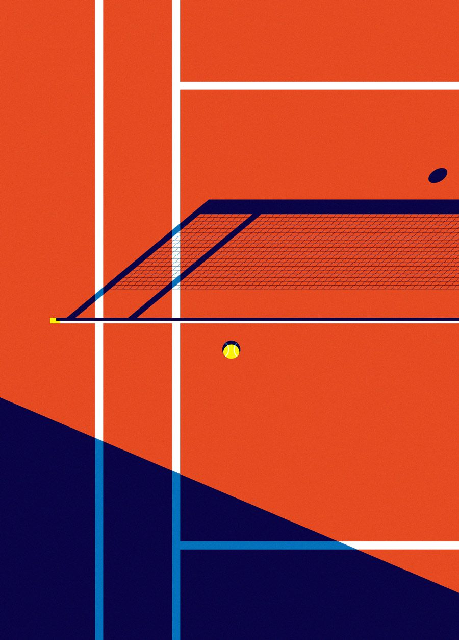 "Malika Favre - ""Sport et Style - Fields - Tennis"" • un-kitchy, classic art poster style à la Art Deco & Bagel cocktail • french graphic illustrator • official site: http://malikafavre.com"