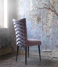 If i had a powder room, i would def DIY this chair! Ikea and some silk ribon and ohlala!