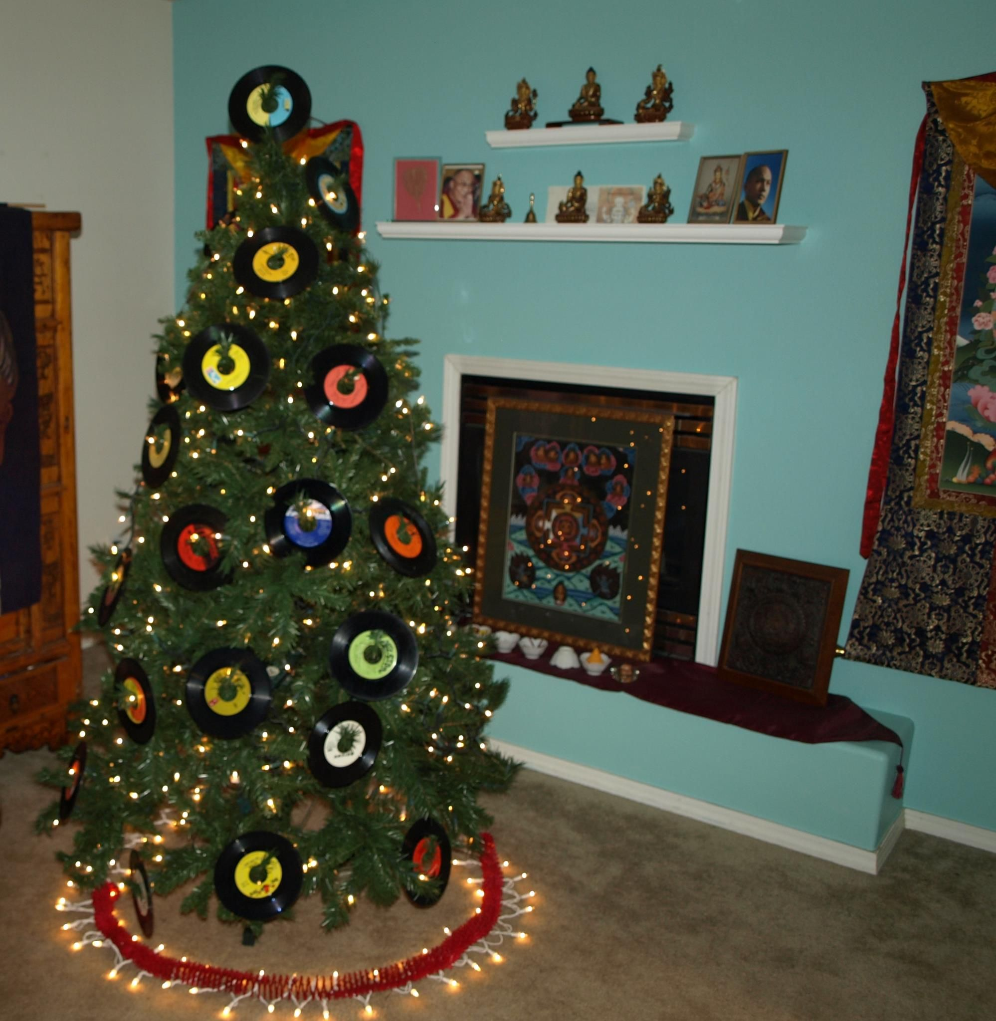 High Quality Rock And Roll Christmas Tree Meets Buddhist Shrine Vintage 45 Records