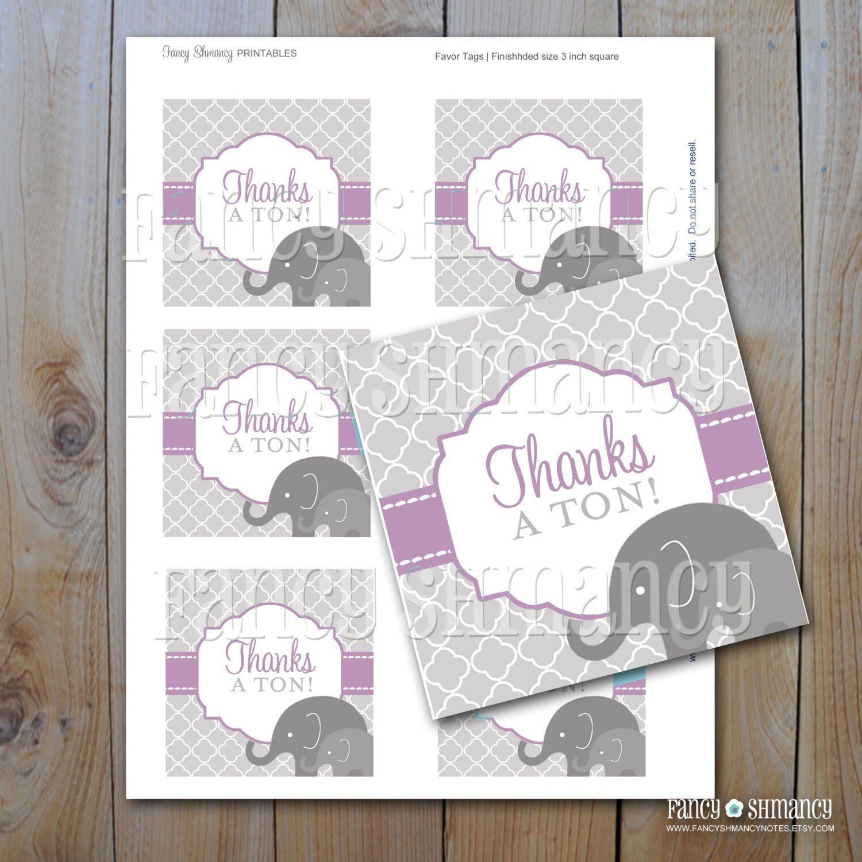 Elephant Baby Shower Favor Tags Purple with Grey Elephants