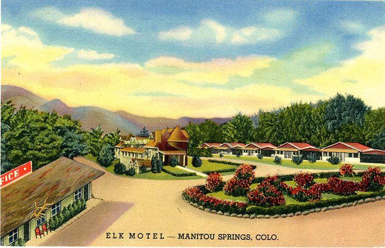 Manitou Springs Colorado Elk Motel Pikes Peak Vintage Postcard (unused) #manitousprings