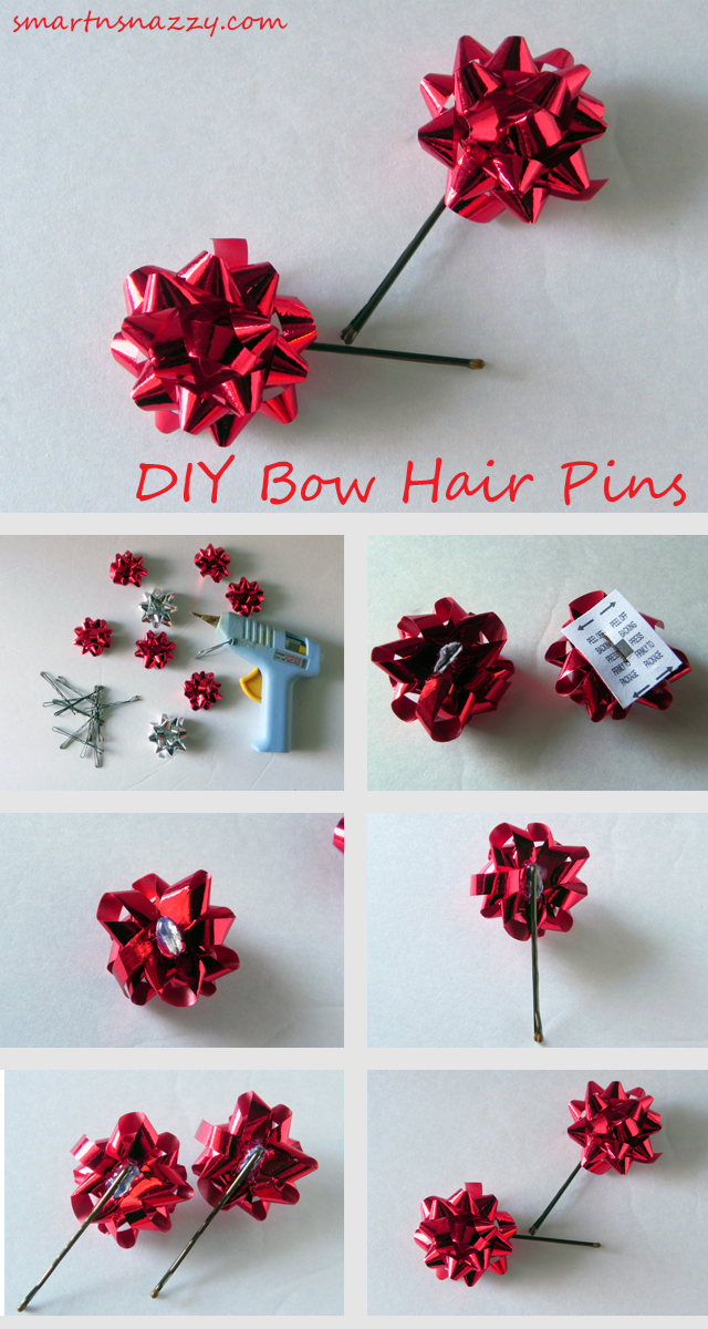 Smart n Snazzy: 12 DIYs of Christmas ~ Day 1 ~ DIY Bow Hair Pins ...