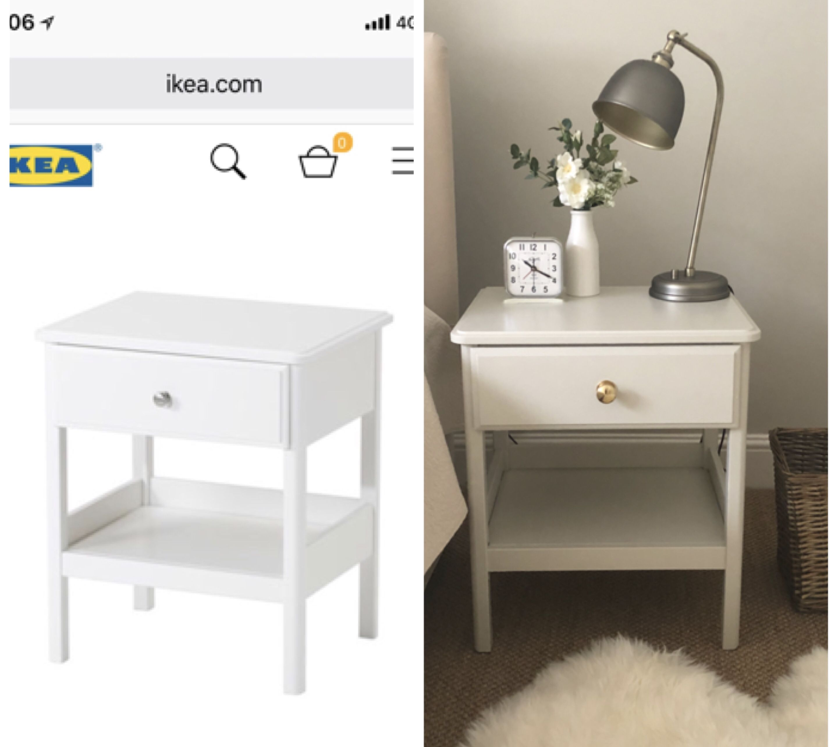 Ikea Tyssedal Bedside Tables Before And After A Coat Of Farrow