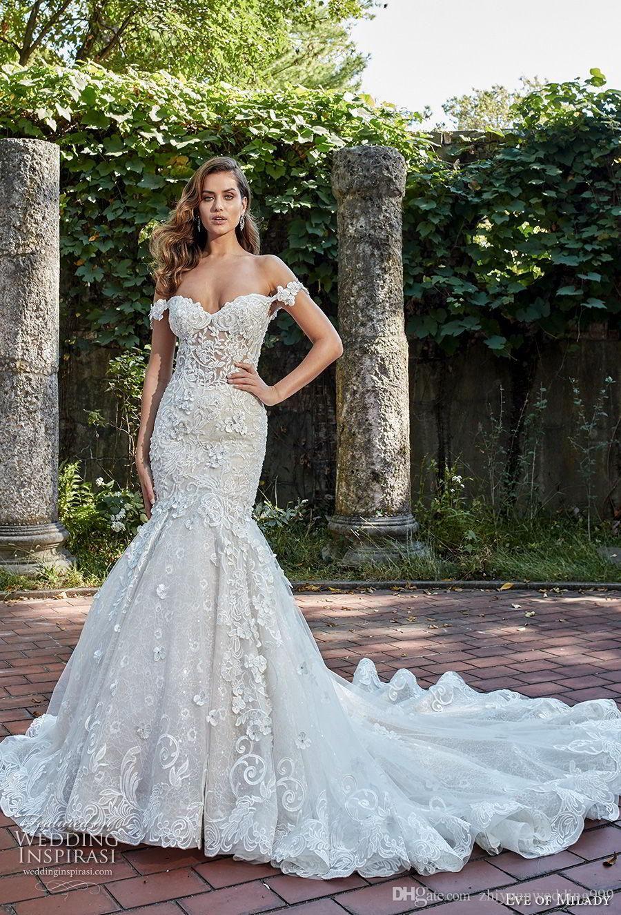 fe93e7745a6 Glamorous Wedding Dresses elegant glamorous mermaid wedding dresses 2018 eve  of milady off the shoulder sweetheart neckline full embellishment open back  ...