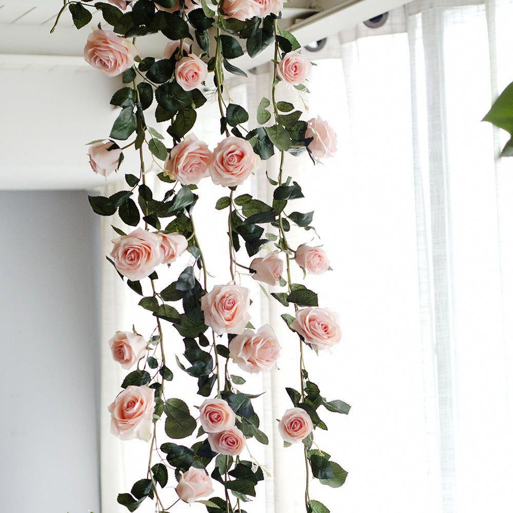 Details About 1 8m Artificial Fake Silk Red Rose Flower Ivy