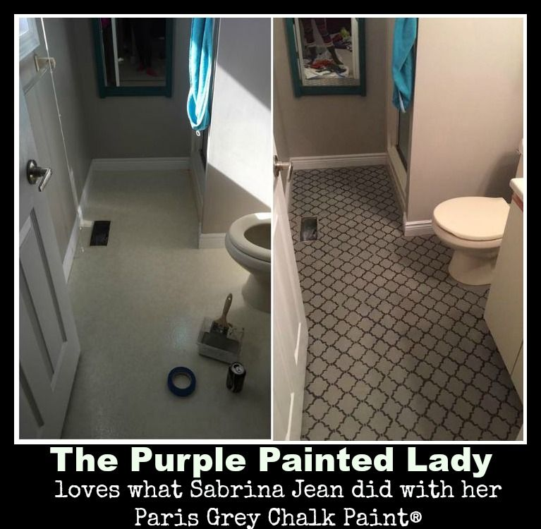 The purple painted lady loves what sabrina jean did to her for Paint for linoleum floors in bathroom