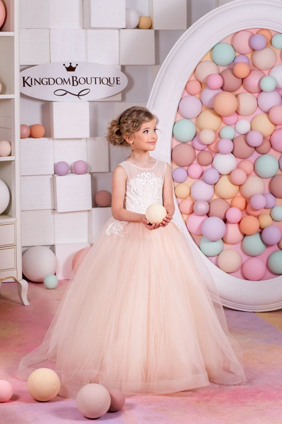Blush Flower Girl Dress Holiday Bridesmaid Wedding Party