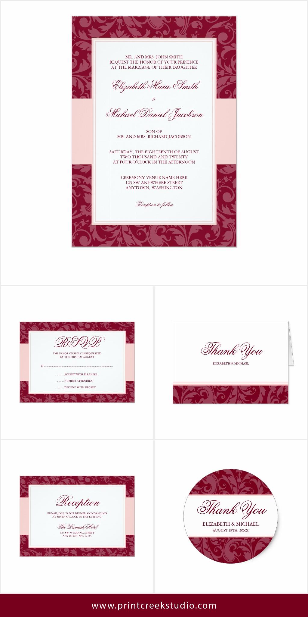 Burgundy and blush pink damask swirl wedding invitation suite. An ...