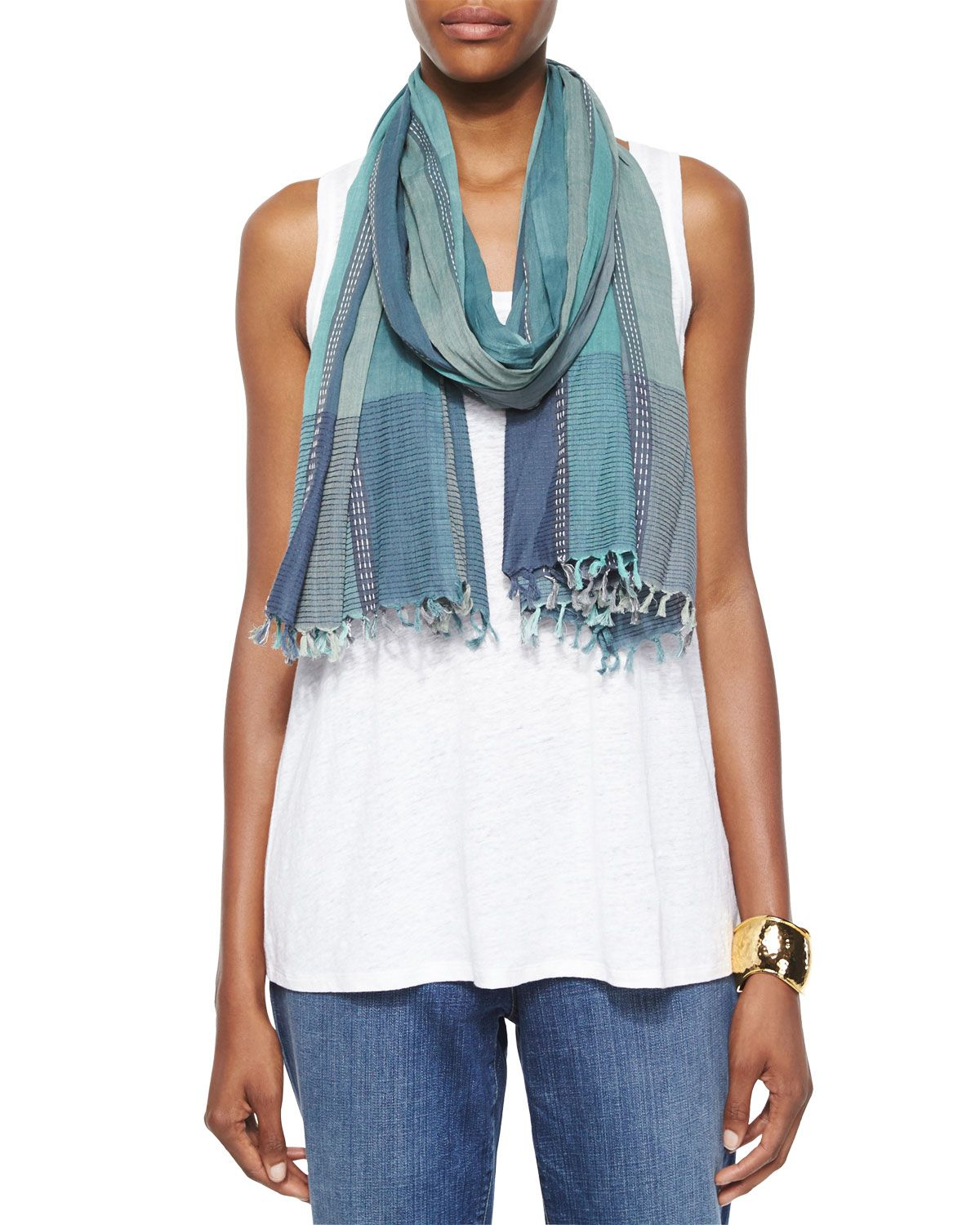 Hand-Loomed Stitch Play Scarf, Women\'s, Calipso - Eileen Fisher ...