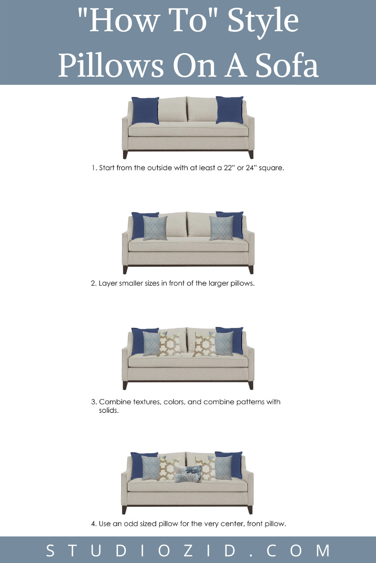 Are you struggling placing pillows on your sofa? Learn different ways to style pillows on your sofa using our expert designer tips. These tips can be applied to couches, sectionals, and love seats as well! If you need any other design help in your home, we'd love to help you! Head over to our website at: studiozid.com  #interiordesign #decorating #diy #homedesign #houseahome #homesweethome #fixerupper #diy #doityourself #designertips #home #interiordecor #pillows #sofa #sectional #loveseat