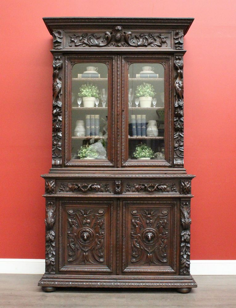 Antique French Oak 2 Height 4 Door Bookcase China Cabinet Library Cupboard C1880
