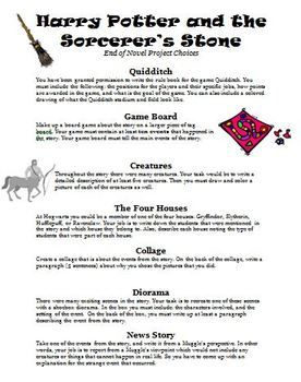 Harry Potter And The Sorcerers Stone End Of Novel Project Choices