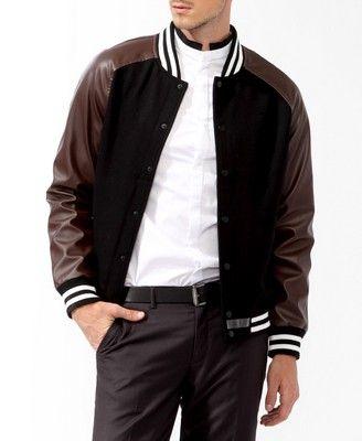 Elbow Patch Varsity Jacket #JACKETS-&-COATS #BLACK/BROWN | Varsity ...