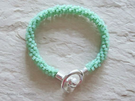 Frosted Pastel Mint Green Beaded & Braided Woven Kumihimo Bracelet, Handmade Summery Pastels, Frosted Green Seed Bead Fashion Bracelet, Gift