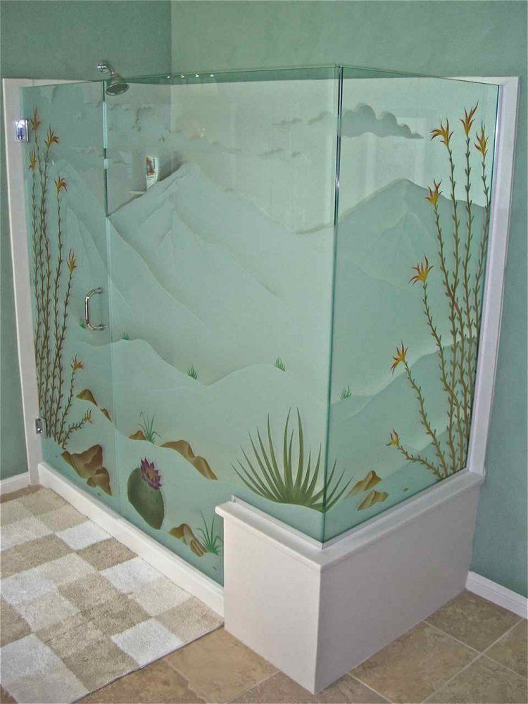 frameless glass shower doors etched glass western style landscape foliage desert in bloom sans soucie