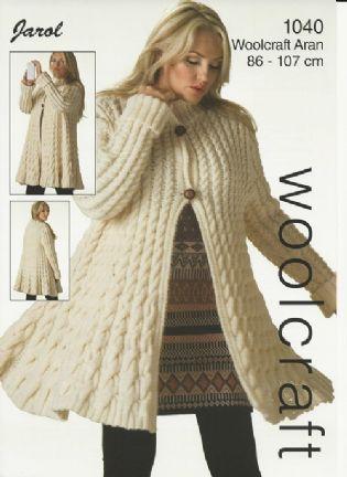Woolcraft Ladies Swing Cable Coat Aran Knitting Pattern 1040