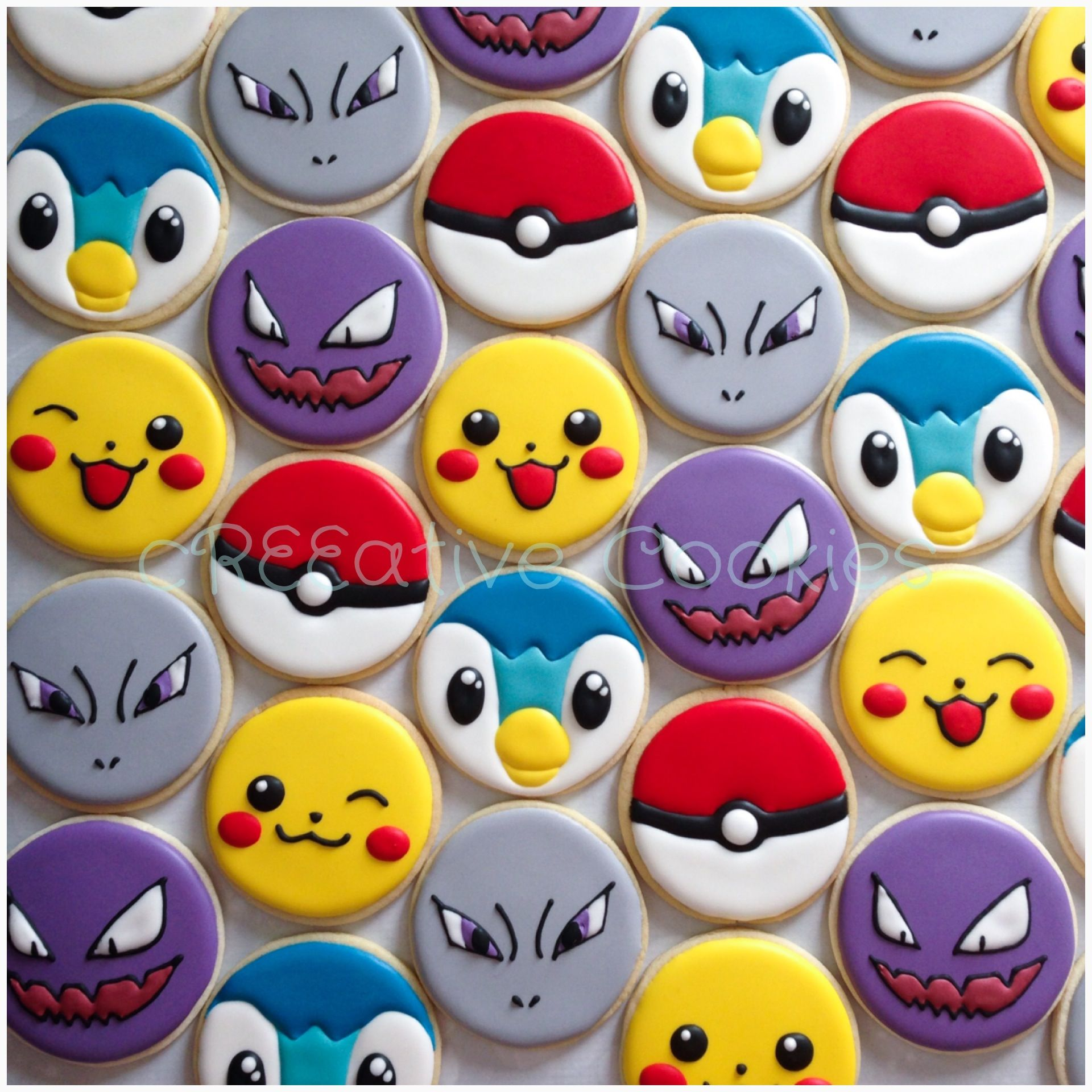 Gotta catch 'em all! Pokemon cookies! :) Find me on Facebook (cReeative Cookies) and Instagram (creeative_cookies).