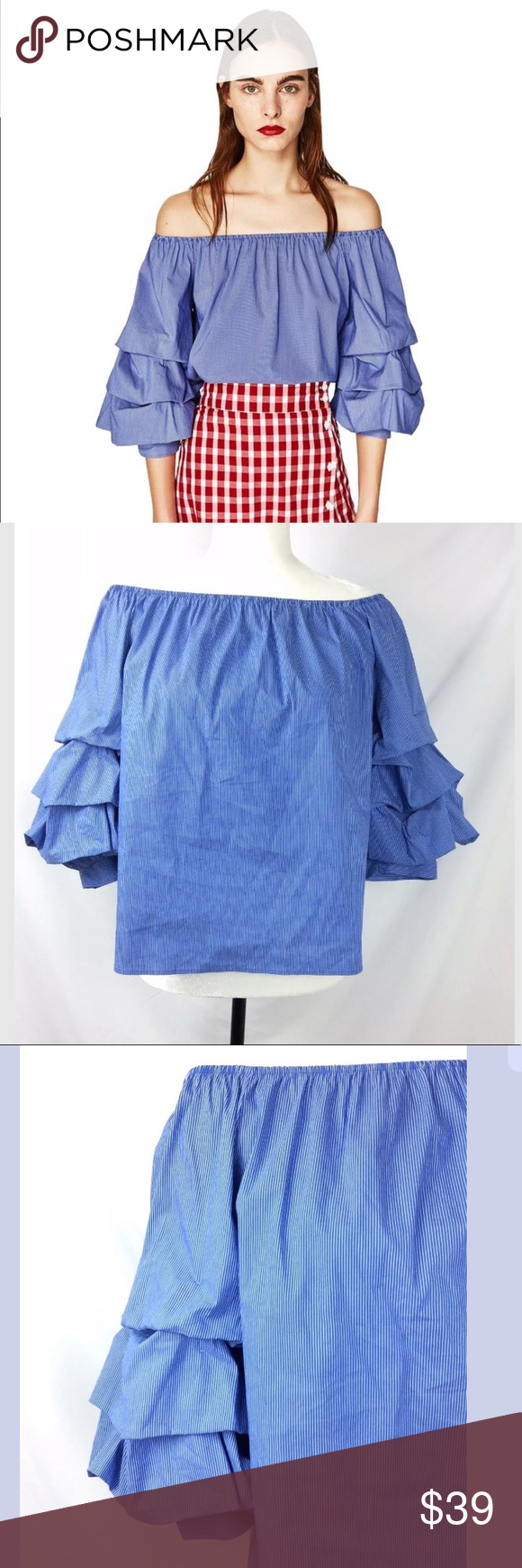 2d09709f Zara Top M Blue striped Off Shoulder ruffle Sleeve Zara Woman blouse ...
