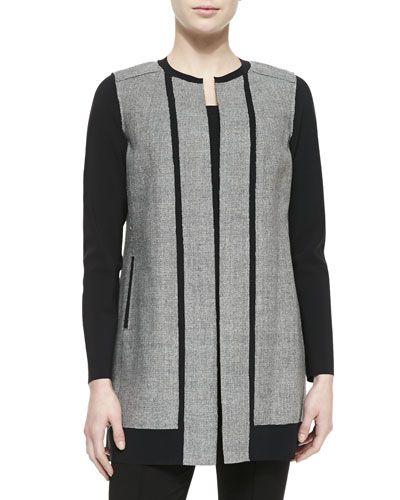 c40e8e43283f TBHE8 Elie Tahari Melody Long Jewel-Neck Contrast Coat | fashion ...