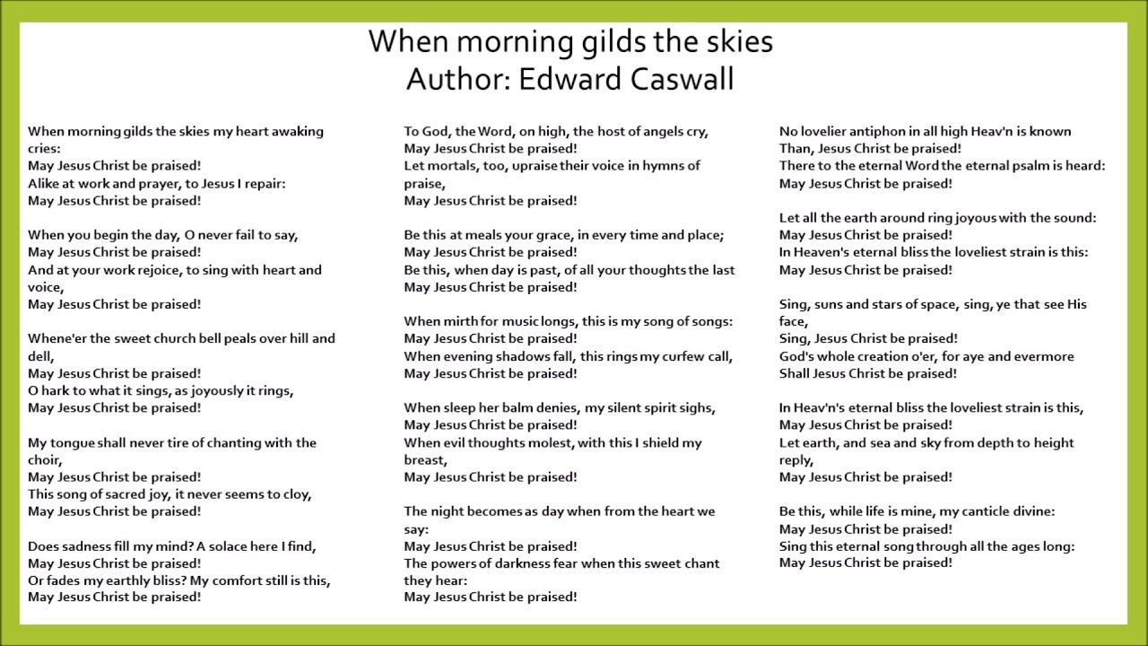 When morning gilds the skies piano with lyrics free download