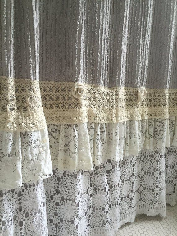 Lace Ruffle Shower Curtain Grey Chenille