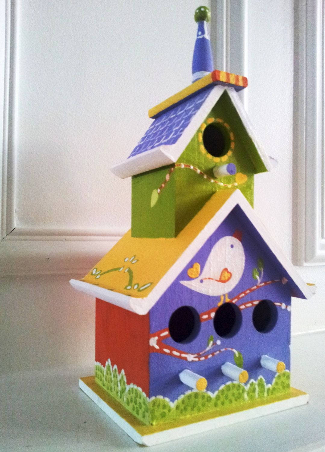 Whimsical Wood Birdhouse Indoor Or Outdoor Hand Painted Birdhouse