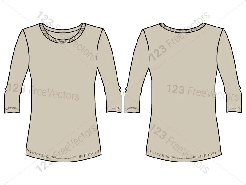 Download Women S Long Sleeve T Shirt Template Vector And Psd Pack 01 Shirt Template Long Sleeve Sleeves
