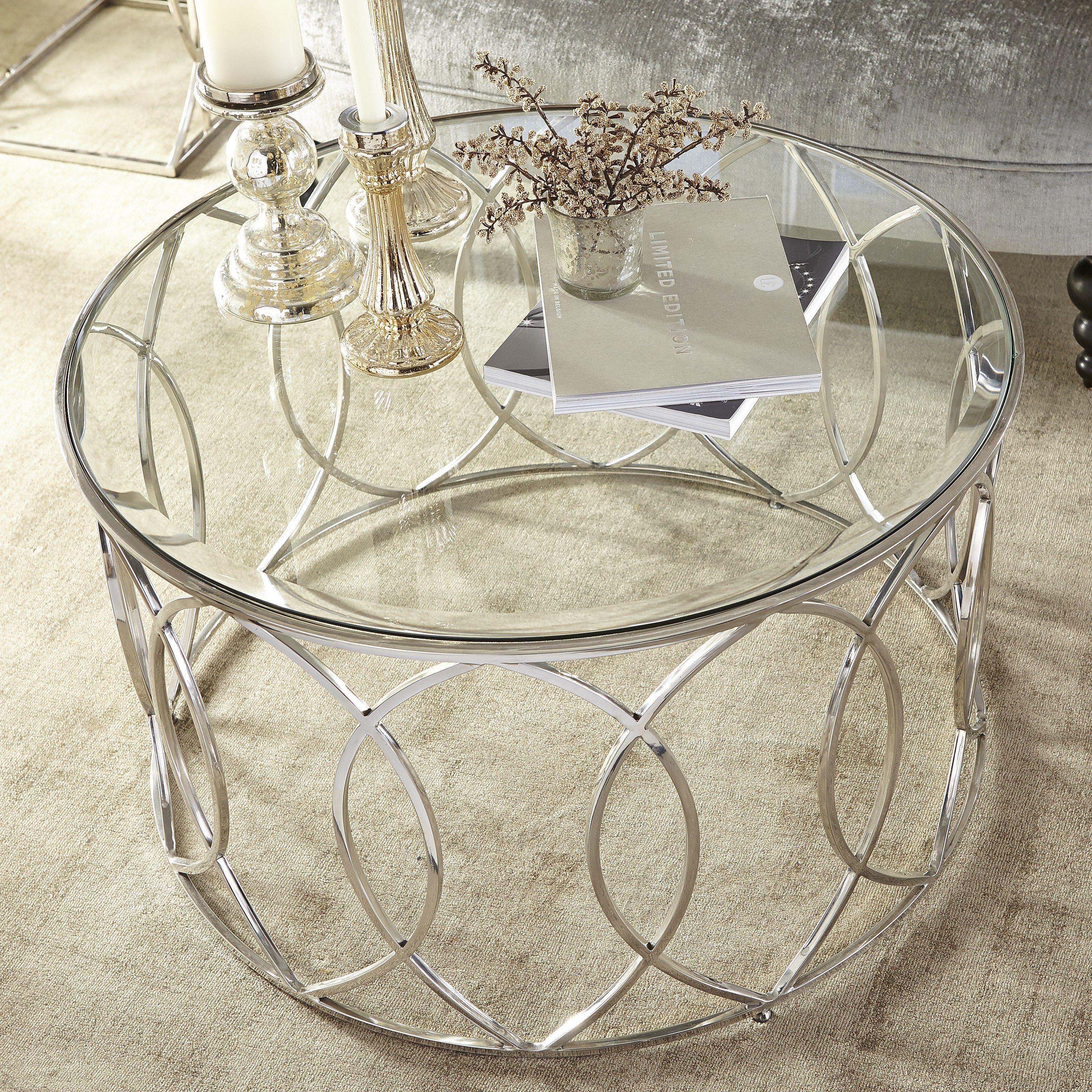 Elana Silver Stainless Steel Round Coffee Table Stainless Steel