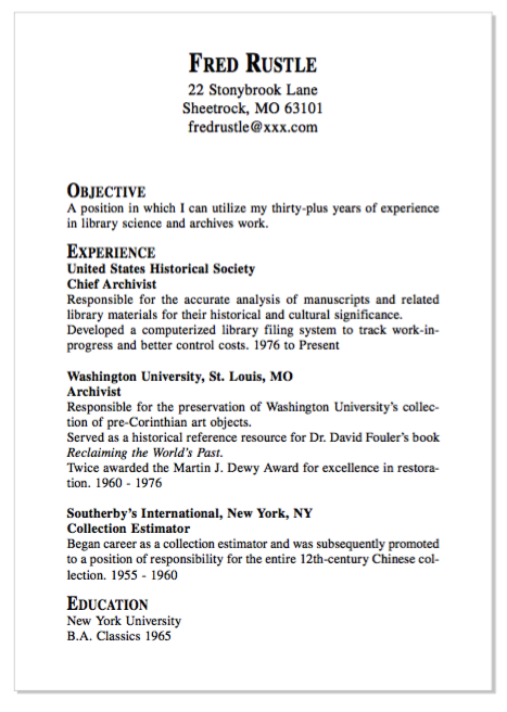 Example Of Chef Archivist Resume  HttpExampleresumecvOrg