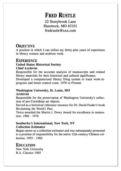 Example Of Chef Archivist Resume Examples Resume Cv Pengetahuan Musik