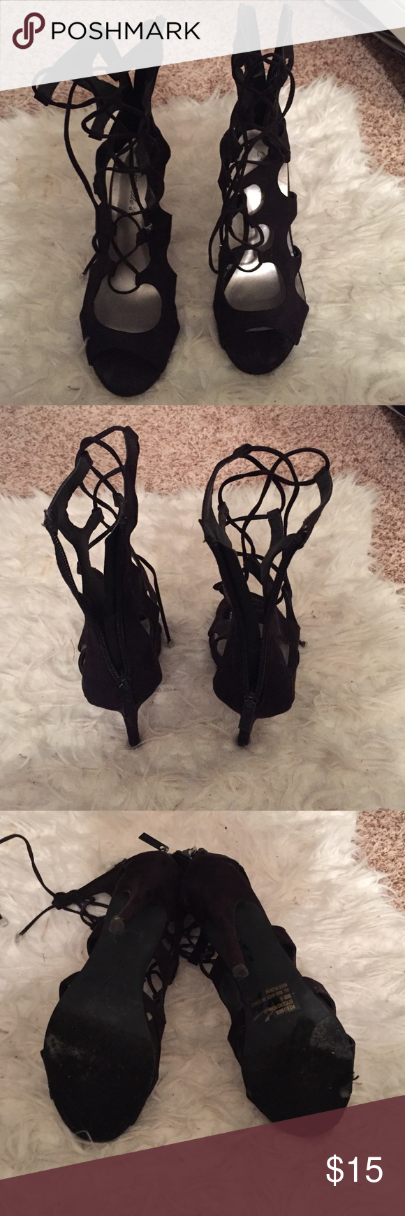 Fashion heels Black fashion heels. Used condition WINDSOR Shoes Lace Up Boots