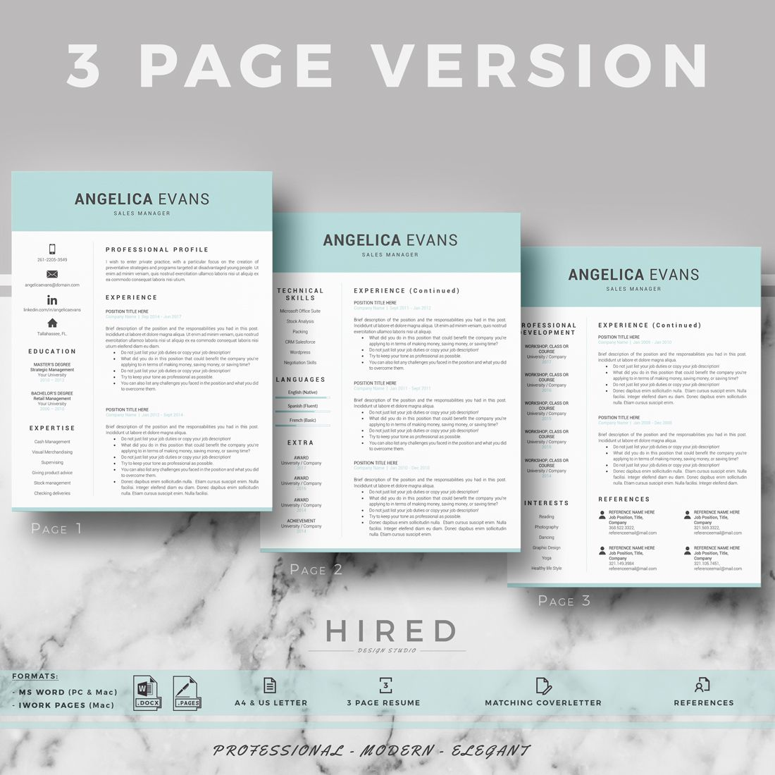 Modern Resume Template; Professional Resume, CV For Word