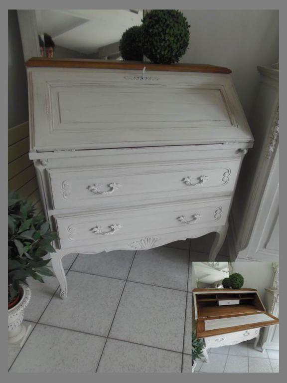 secretaire bureau chene patine perle relook par atelierdes4saisons sur rue des relookeurs. Black Bedroom Furniture Sets. Home Design Ideas