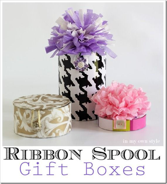 Gift wrapping ideas that are made by repurposing empty cardboard gift wrapping ideas that are made by repurposing empty cardboard ribbon spools into pretty gift boxes negle Images
