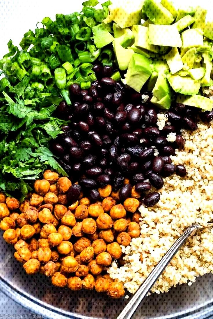 Quinoa Chickpea Avocado Salad with Black Beans | Food Faith Fitness Mexican Quinoa Salad with Roast