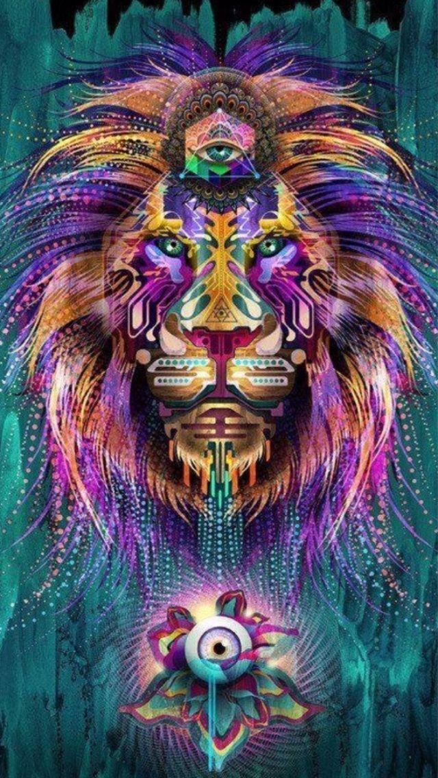 Art Creative Trippy Multicolor Lion Animals HD IPhone Wallpaper
