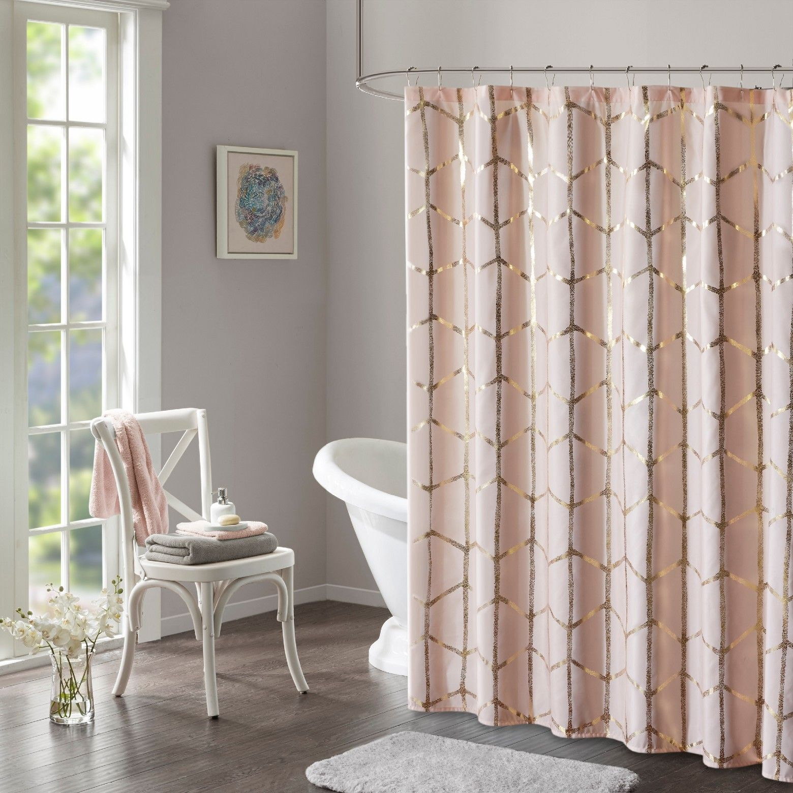 Shower Curtain Geometric Blushing Pink Shower Curtains Shower