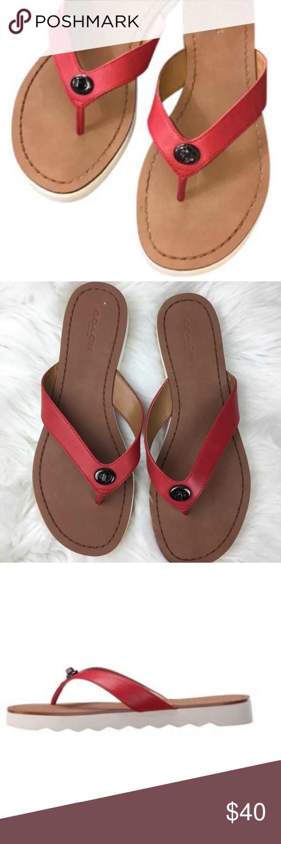 df800aa70ab3 Coach Shelly Flip-flop red thong sandals New without box. Coach Shelly red  thong