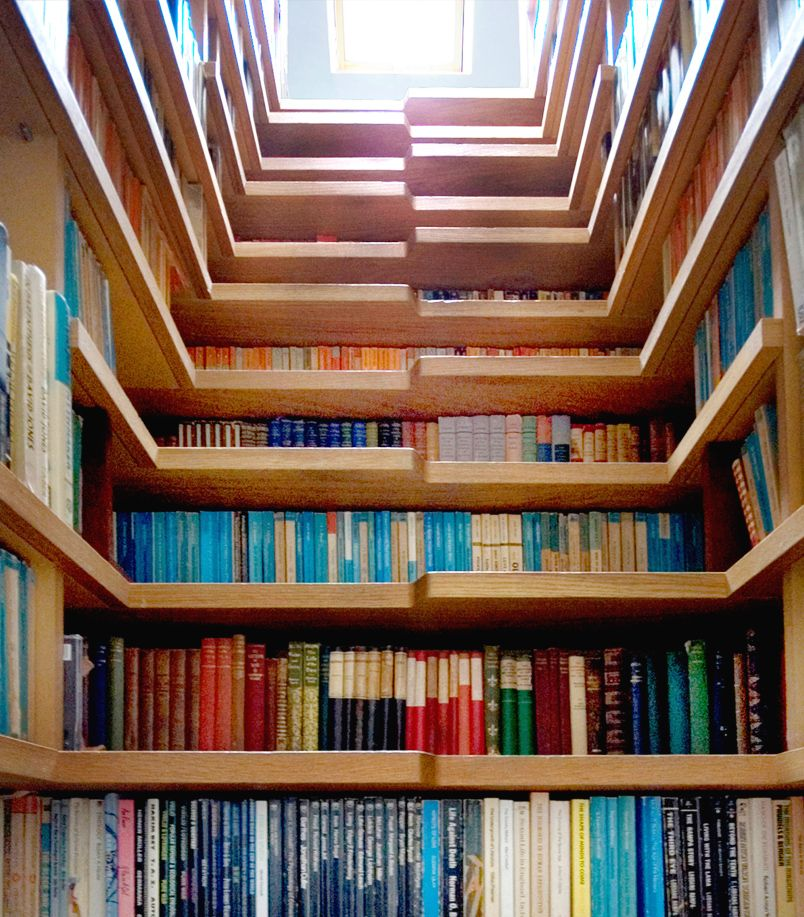 Bookcase Staircase, London | A Library Lined Stairway