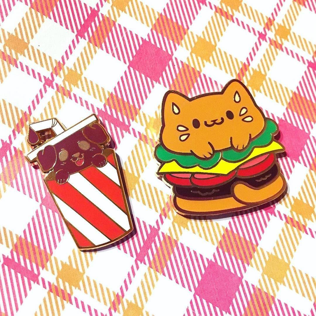 Burger cat pin