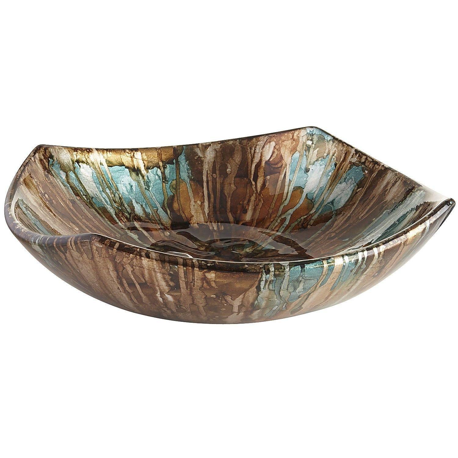 Decorative Ceramic Bowl Turquoise & Taupe Foiled Bowl  Pier 1 Imports  Taupe Color