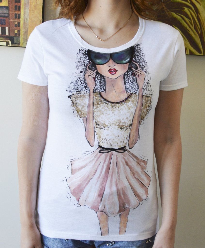 Design t shirt hand made - Sketch Design Women Designer T Shirt Handmade
