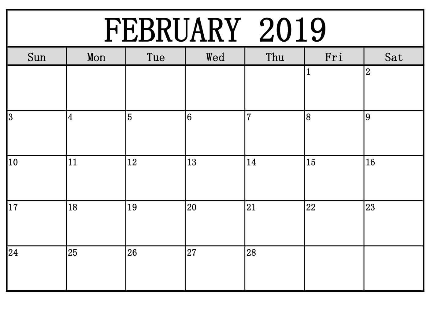 February 2019 Calendar Decorative Printable Blank Calendar Calendar Printables Printable Calendar Pdf